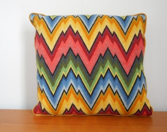 Retro Mid Century  handmade bargello pillow