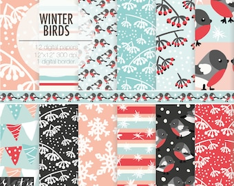 WINTER BIRDS digital paper for Christmas planner, decorations. Bullfinches, red winter berries, snow in pink, red, blue, black .