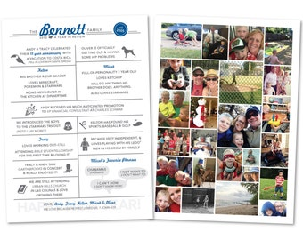 Year in Review Card, Year at a Glance, Holiday Card, Christmas Card, Iconographic, Icons, Iconographics, with or wo photos - Digital File