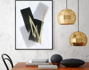 Black and White Painting Black and White Art Abstract Painting Original Abstract Art Gold Art Minimalist Art Black Modern Art Large Art