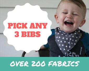 PICK ANY THREE Bibdanas - Set of 3 baby bandana bibs (choose from 200+ fabrics), bibdanna, bibdana, baby bandana, bandana bib, bandanabib