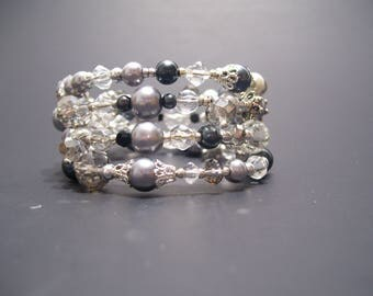 Shades of Grey Swarovski Pearl and Crystal Bracelet