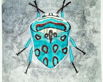"Original Watercolor ""Período Azul"" Painting - 3 1/2 x 3 1/2 Beetle"