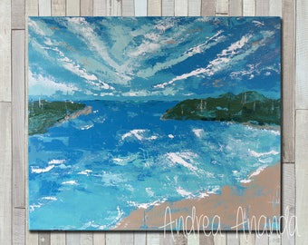 Original Fine Art Beach Landscape Acrylic Painting Wall Art 20 x 24 inches Canvas in Blues