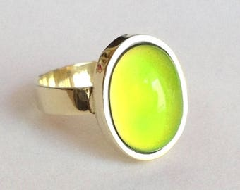 Mood Ring 8k 14k Yellow Gold - 14x10 mm - DELUXE