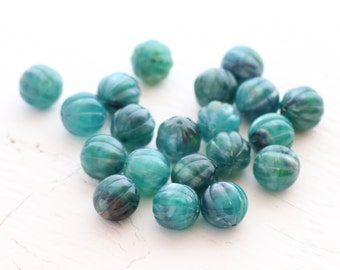 Vintage Acrylic Melon Beads - Marbled Ocean Teal - 9mm - 20 beads