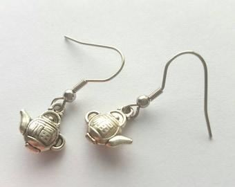 Teapot Earrings with Stainless Steel Earwires - Tibetan Silver - tea - tea party