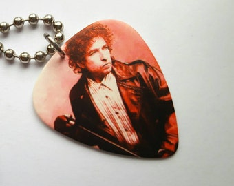 Bob Dylan Guitar Pick Necklace with Stainless Steel Ball Chain