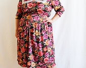 Plus Size - Vintage Floral Lace Trim Shirt Dress (Size 20/22)