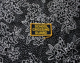 Vintage School Crossing Guard Embroidered Patch. Retro Black And Yellow 80s Collectible Patch. Vintage Crossing Guard Collectible Accessory.