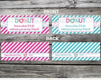 Donut Valentine Bag Topper, Printable Donut Bag Topper, Instant Download, School Treat, Classroom, Teacher Valentines, Donut Bag Topper