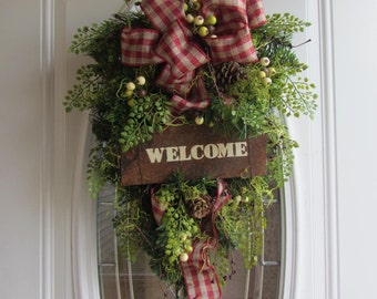 Christmas Swag - Christmas Door Decor - Plaid pine Swag - Holiday Swag - Pine Swag - Country Swag - Winter Wreath - Rustic Door Swag - Swag