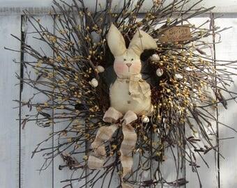 Twig Easter Wreath - Berry Wreath - Bunny Wreath - Spring Wreath - Spring Easter Decor - Rabbit Wreath - Easter Bunny Wreath - Door Wreath