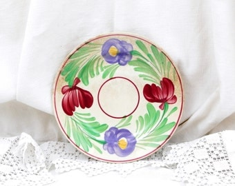 Antique French Dessert Plate Ceramic Plate Hand-painted Flower Pattern, Sarrguemines Digoin, French Country Decor, Vintage Home, Retro Decor