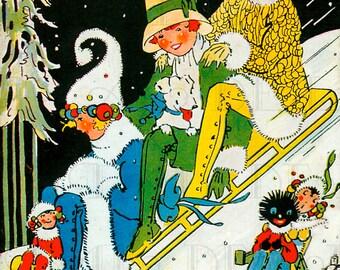 RARE. Three Girls On A Sled!  Vintage Art Deco Digital Christmas Illustration. Digital CHRISTMAS Download. Christmas Card Making!