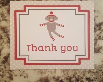 Printable Sock Monkey Thank you Cards- brown mms006