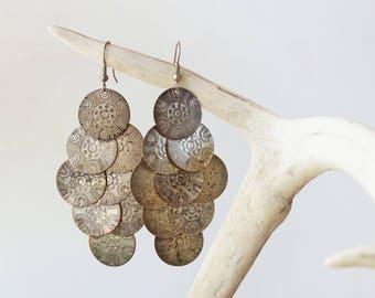 Kuchi Cascading Coin Earrings/Rustic Metals/Nomadic/Bedouin/Gypsy/Geometric Circle/Silver Patina Boho Earrings/Tribal/Ethnic/Bohemian Chic
