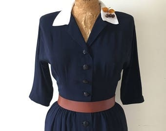 """Iconic Vintage Late 1940s Striking Navy Blue Rayon Dress with White Contrast Collar & Nipped Waist 27"""" Waist"""