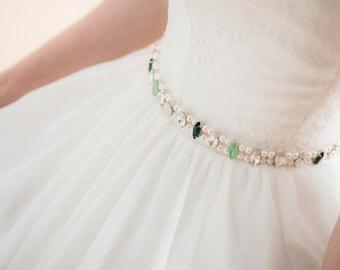 Mint Bridal Belt, Swarvoski Crystal Wedding Belt, Rhinestone Belt, Skinny Belt, Glamour Narrow bridal Belt, one-of-a-kind, #4019