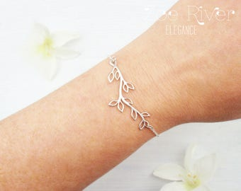 Choose silver, rose gold or gold personalized family tree bracelet. Dainty rose gold, silver or gold bracelet