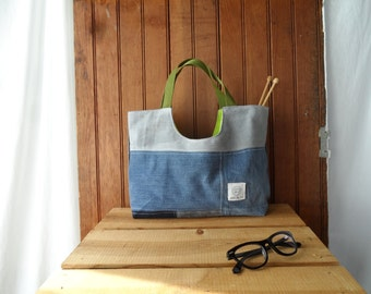 Yarn Bag recycled denim project bag small tote