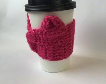 Pussy Hat,Gift,Gift for Her,Feminist,Coffee,Handmade,Nasty Woman,Womens Rights,Resist,Coffee Sleeve,Coffee Mug,Coffee Cozy,Coffee Cup Holder