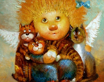 """Painting """"Clown with kittens"""". Written on canvas, oil paints. It is decorated. The outer size is approximately 35x40."""