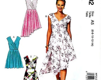 Short or Hi Low Hemline Dress Pattern Cross Over Bodice Size 6 8 10 12 14 McCall's MP202 Sewing Pattern Uncut FFolds