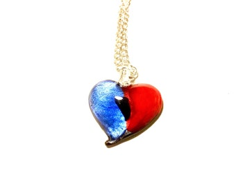 Glass love pendant necklace Valentines Day romance anniversary fused red blue silver necklace