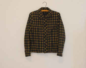 Yellow and Gray Plaid Wool Jacket - 1970s