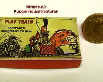 """3105# Toy box """"Play Train"""" - Doll house miniature in scale 1/12"""
