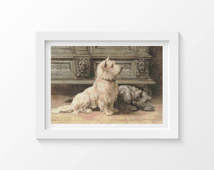 Cross Stitch Pattern PDF, Embroidery Chart, Art Cross Stitch, Dog Cross Stitch, West Highland Terrier by Herbert Dicksee (DICK01)