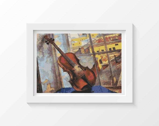 A Violin Cross Stitch Pattern PDF by Kuzma Petrov Vodkin (VODKI01)
