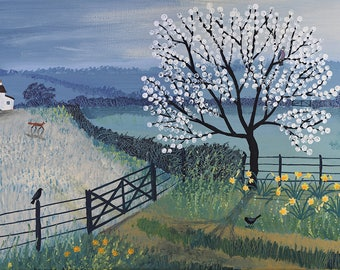 Print of English landscape at night with horses and owls from an acrylic original painting 'Spring Moon' by Jo Grundy