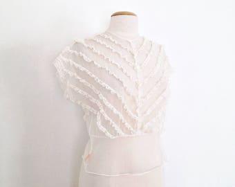 50s lace top sheer blouse 1950s blouse cream blouse vintage lace blouse women 50s clothing 60s clothes women