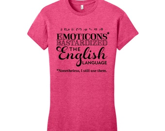 Funny Emoticons Shirt Funny Grammar Shirt Typography T-Shirt Funny Men's Shirt Hipster Tee English Teacher Gift Text Shirt American Apparel