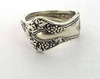 Demitasse Spoon Ring Vintage Grapes 1904 Antique New NIP Petite Silverware Jewelry Flatware Handle Re-purposed Size 6 7 8 9 10 11 12
