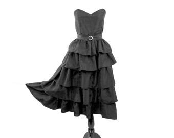 1980s Sweetheart Strapless Inky Black Tiered Ruffled Dress by Night Visionz California Rhinestone Buckle