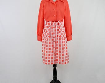 1970s Orange Dotted Knit Secretary Dress by JC Penney