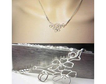 925 Sterling Silver Cherry Blossom Necklace Flower Necklace Spring Jewelry Nature Jewelry Sakura Necklace Romantic Necklace Gift for Her