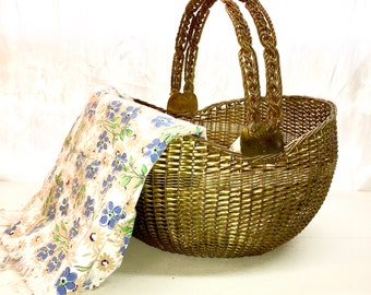 Vintage Metal Basket Brass with Hinged Handles. Heavy, Unusual, Sturdy.