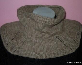 Alpaca Cowl / Shoulder Warmer Hand Knit - Heathered Sable Brown