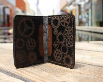 Men Small Wallet Dark blue Bifold credit card Surface minted leather Original Genuine leather High quality 1817