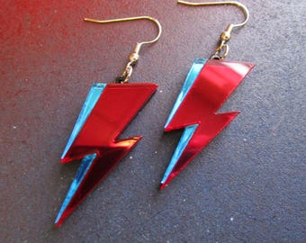Ziggy Stardust Red and Blue Mirrored Acrylic David Bowie Lightning Dangle Earrings