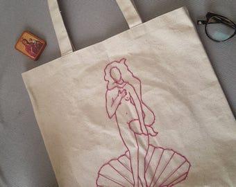 Birth of Venus Embroidered Tote