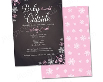 Winter Baby Shower Invitation, Snowflake Baby Shower Invitation, Baby It's Cold Outside Baby Shower Invitation - Printable Digital File