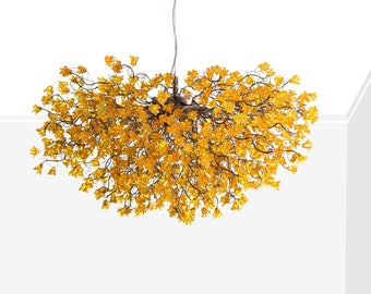 Yellow jumping flowers Hanging chandeliers for dinning room,a unique and elegant lighting for living room, office or bedroom.