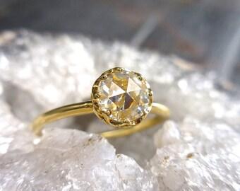 Rose Cut Moissanite Ring, Moissanite Engagement, Conflict Free, Handmade, 18 k Yellow, Charles & Colvard, Moissanite Ring