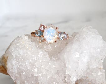 Moonstone Ring - Made to Order, Cluster Ring, Oval Moonstone, Sapphire, Aqua, Topaz, Mother's Ring, Birthstone Ring, Blue Rainbow Moonstone