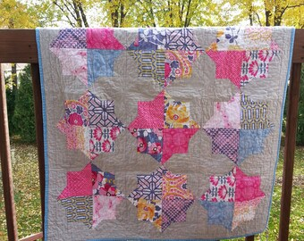 Double Star Quilt, Baby Blanket, Crib Quilt, Toddler Blanket, Snuggle Quilt, Security Blanket, Throw Blanket, Travel Blanket